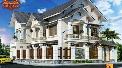 Mẫu thiết kế biệt thự 2 tầng tân cổ điển mái dốc đẹp