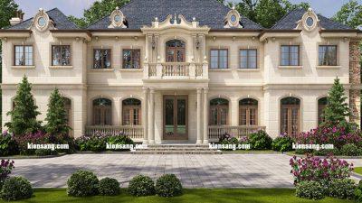 Mẫu thiết kế biệt thự 2 tầng tân cổ điển kiểu mỹ đẹp