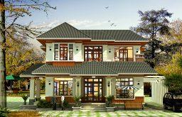 Mẫu thiết kế biệt thự 2 tầng tân cổ điển mái thái đẹp