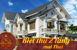Bản vẽ mẫu thiết kế Biệt thự 2 tầng mái Thái Tân cổ điển